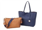 Reversible Tote with inner pouch in Navy and Copper