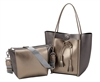 Gold and Gunmetal Metallic Tassle Tote with Inner Pouch
