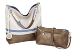Creme, Periwinkle & Gold Reversible Hobo