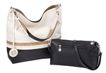 Creme, Taupe & Black Reversible Hobo