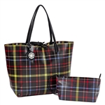 Black & Green Plaid Reversible Tote