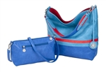 Turquoise, Red & Cobalt Reversible Hobo