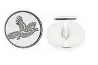 Sterling silver cufflinks with engraved pheasant in flight.