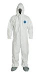 Dupont Ty122Swhlg002500, TY122S-LG Disposable Coveralls, Elastic Wrist, Bootie & Hood, White, Large, Case of 25