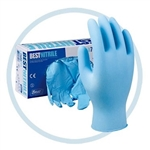 "Best 7500PF-XL Powder Free Nitrile Disposable Gloves, 9.5"" Long, Blue, Size X-Large, Box of 100 Gloves"