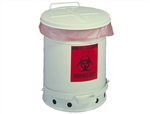 Justrite 05910 Biohazard Waste Can, 6 Gallon, White