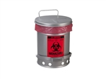 Justrite 05914 Biohazard Waste Can with SoundGard, 6 Gallon, Silver