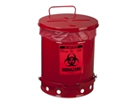 Justrite 05930R Biohazard Waste Can, 10 Gallon, Red