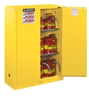 Justrite 894520 Flammable Safety Cabinet, 45 Gallon, Self-Closing Doors, Yellow