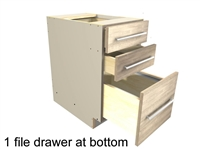 File drawer base cabinet (1 file drawer at bottom, two small drawers above)