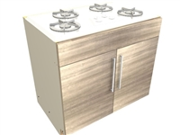 2 door 1 false front cooktop base cabinet