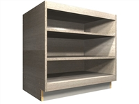 open base cabinet with wide rails at top and bottom