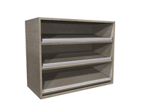Open wall cabinet with angled shoe shelves (shelves are pre-drilled, shoe fence included)
