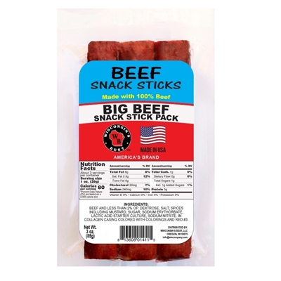Beef Naturally Smoked Snack Sticks 3oz.