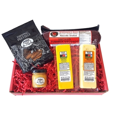 Classic Man Snack Gift Basket-Original Summer Sausage, Wisconsin Cheddar & Pepper Jack Cheeses, Dipping Pretzels and Sweet & Tangy Mustard - Perfect Snack or Gift Basket.