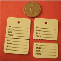 "TAGGING HANG LABEL PRICE TAG WHITE 2-PART UNSTRUNG 1-1/4""(W) x 1-7/8""(H)"