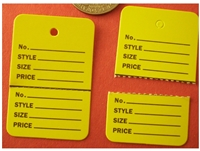 Yellow LARGE COUPON HANG Price Label Tag Clothing Tagging Tags Gun Two part