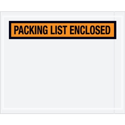 "4 1/2"" x 5 1/2"" Orange ""Packing List Enclosed"" Envelopes 1000/Case"