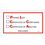 "5 1/2"" x 10"" ""Packing List/Cert of Compliance/Cert. of Analysis Enclosed"" Envelopes 1000/Case"