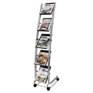 ALBA Mobile Literature Display, 13 3/8w x 20 1/8d x 65 3/8h, Silver Gray/Black