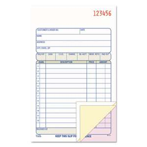 CARDINAL BRANDS INC. Carbonless Sales Order Book, Three-Part Carbonless, 4-3/16 x 7 3/16, 50 Sheets