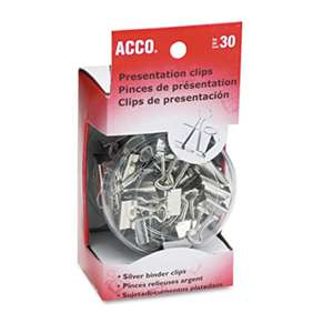 ACCO BRANDS, INC. Metal Presentation Clips, Assorted Sizes, Silver, 30/Box