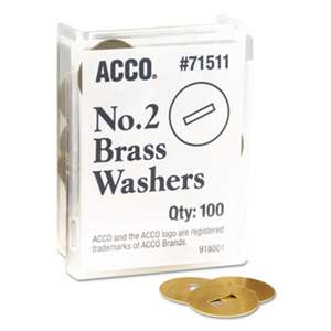 "ACCO BRANDS, INC. Washers for Two-Piece Paper Fasteners, 1/2"" Cap, 1 1/4"" Diameter, Gold, 100/Box"