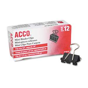 "ACCO BRANDS, INC. Mini Binder Clips, Steel Wire, 1/4"" Cap, 1/2""w, Black/Silver, Dozen"