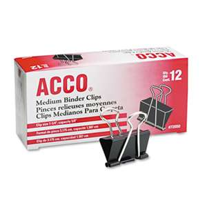 "ACCO BRANDS, INC. Medium Binder Clips, Steel Wire, 5/8"" Cap, 1 1/4""w, Black/Silver, Dozen"