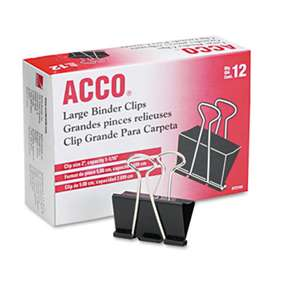 "ACCO BRANDS, INC. Large Binder Clips, Steel Wire, 1 1/16"" Cap, 2""w, Black/Silver, Dozen"