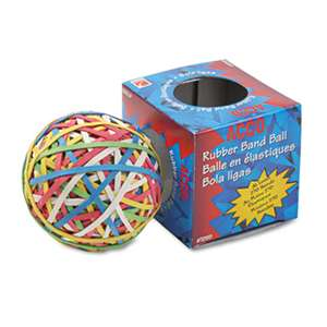 ACCO BRANDS, INC. Rubber Band Ball, Approximately 250 Rubber Bands, Assorted