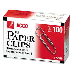 ACCO BRANDS, INC. Smooth Standard Paper Clip, #3, Silver, 100/Box, 10 Boxes/Pack