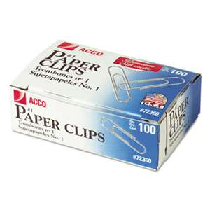 ACCO BRANDS, INC. Premium Paper Clips, Smooth, #1, Silver, 100/Box, 10 Boxes/Pack