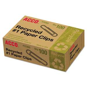 ACCO BRANDS, INC. Recycled Paper Clips, Smooth, #1, 100/Box, 10 Boxes/Pack