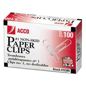 ACCO BRANDS, INC. Nonskid Standard Paper Clips, #1, Silver, 100/Box, 10 Boxes/Pack