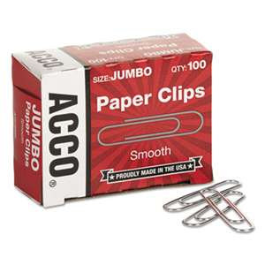 ACCO BRANDS, INC. Smooth Standard Paper Clip, Jumbo, Silver, 100/Box, 10 Boxes/Pack