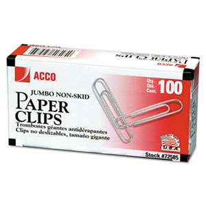 ACCO BRANDS, INC. Nonskid Standard Paper Clips, Jumbo, Silver, 100/Box, 10 Boxes/Pack