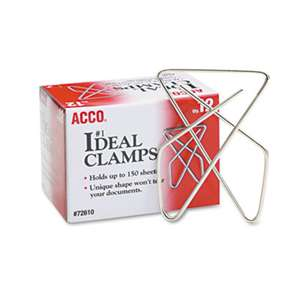 "ACCO BRANDS, INC. Ideal Clamps, Metal Wire, Large, 2 5/8"", Silver, 12/Box"