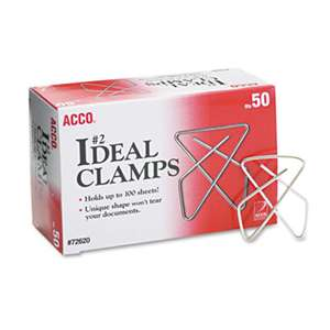 "ACCO BRANDS, INC. Ideal Clamps, Metal Wire, Small, 1 1/2"", Silver, 50/Box"
