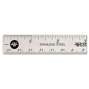 ACME UNITED CORPORATION Stainless Steel Office Ruler With Non Slip Cork Base, 6""