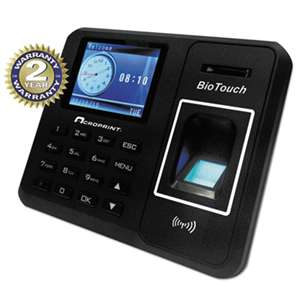 ACRO PRINT TIME RECORDER BioTouch Time Clock, Hours/Minutes/Seconds, 6 x 1 1/2 x 5