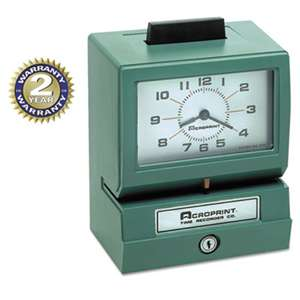 ACRO PRINT TIME RECORDER Model 125 Analog Manual Print Time Clock with Date/0-23 Hours/Minutes