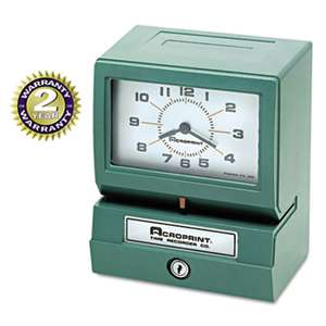 ACRO PRINT TIME RECORDER Model 150 Analog Automatic Print Time Clock with Month/Date/1-12 Hours/Minutes
