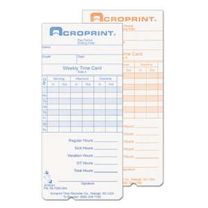 ACRO PRINT TIME RECORDER Weekly Time Cards for ATR240 and ATR360, 250/Pack