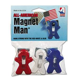 ADAMS MANUFACTURING CORP. Magnet Man Clip, Plastic, Assorted Colors, 3/Pack