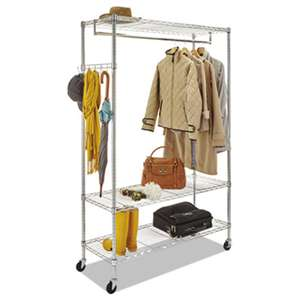 ALERA Wire Shelving Garment Rack, Coat Rack, Stand Alone Rack w/Casters, Silver
