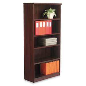 ALERA Alera Valencia Series Bookcase, Five-Shelf, 31 3/4w x 14d x 65h, Mahogany