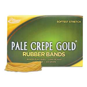 ALLIANCE RUBBER Pale Crepe Gold Rubber Bands, Sz. 19, 3-1/2 x 1/16, 1lb Box