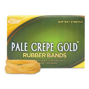 ALLIANCE RUBBER Pale Crepe Gold Rubber Bands, Sz. 64, 3-1/2 x 1/4, 1lb Box