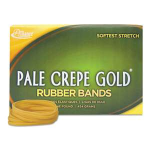 ALLIANCE RUBBER Pale Crepe Gold Rubber Bands, Sz. 117B, 7 x 1/8, 1lb Box